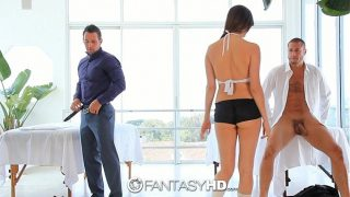 HD FantasyHD – Holly Michaels massages two guys turns into threesome