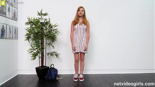 Petite Girl With Tan Lines Fucks During A Casting For A Calendar App