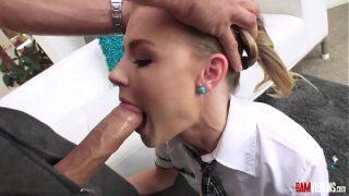Sexy Teen in Schoolgirl Outfit Sucks Cock Gets Dp with sex toy